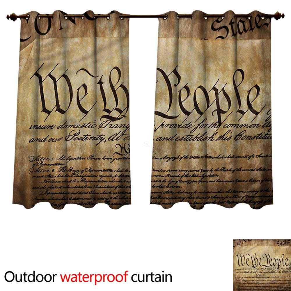 cobeDecor United States Outdoor Ultraviolet Protective Curtains Constitution Text W84 x L72(214cm x 183cm)