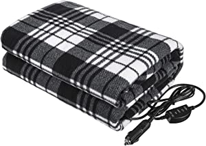 "Tvird Electric Car Blanket- 12 Volt Heated Car Blanket with Temperature Controller,Travel Electric Blanket for Cars and RVs-Great for Cold Weather, Tailgating, and Emergency Kits Black/White (59""x43"")"