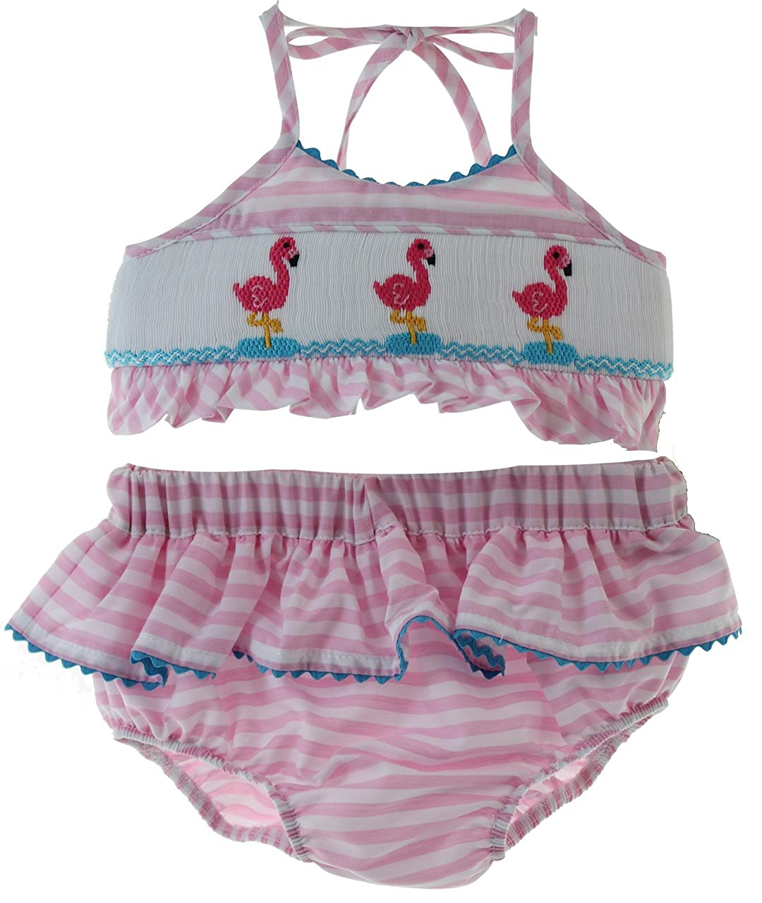 9005345937d82 Precious infant and toddler girls smocked two piece bathing suit in pink  gingham fabric with turquoise trim and pink flamingo smocking.