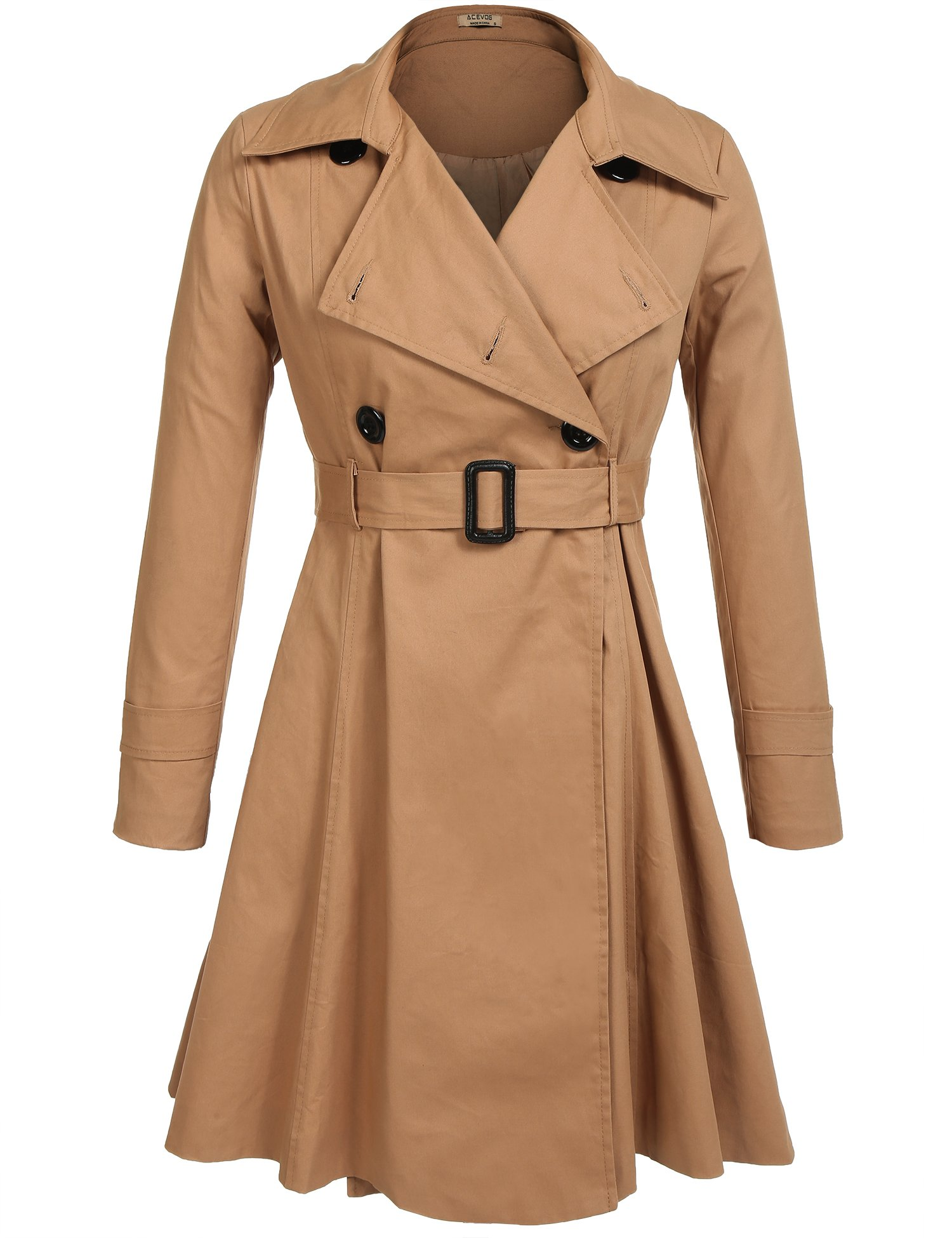GEESENSS Women's Casual Notched Lapel Double Breasted Belted Long Trench Coat,Khaki,Medium