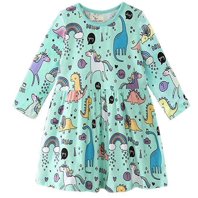 eb68cc0f377 Frogwill Girls Long Sleeve Casual Dress Dots Heart Printed Jersey Top 2-7Y  (2T