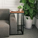 XWZJY Industrial Style Side Table - Wooden Tabletop and Metal Frame for Living Room,40 x 32 x 68 cm