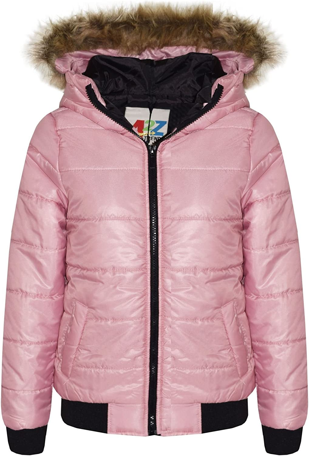 A2Z 4 Kids/® Kids Girls Jacket Faux Fur Detachable Hood Puffer Hooded Padded Quilted Warm Thick Coats New Age 5 6 7 8 9 10 11 12 13 Years