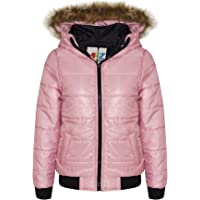 Boys Girls Jacket Kids Baby Pink Maya Faux Fur Hooded Padded Puffer Coat 5-13 Yr