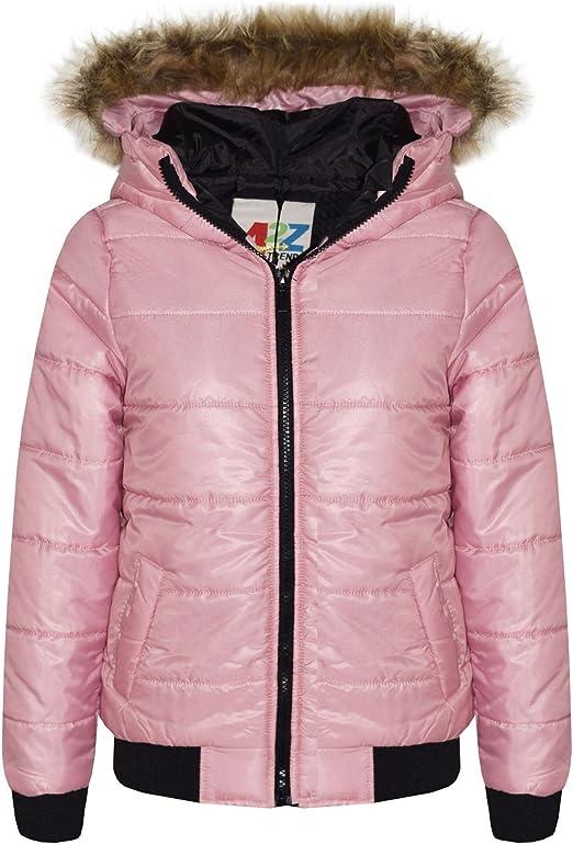 Girls Jacket Kids Wine Padded Puffer Bubble Faux Fur Collar Warm Coats 5-13 Yrs