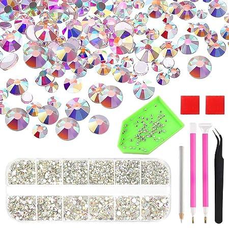 0e54331b14bac TUPARKA Nail Crystals AB Rhinestones Nail Art Gems with Tool Set for Nails  Eye Makeup Decoration,6300 Pcs (Mix SS3 4 5 6 810 12 16)