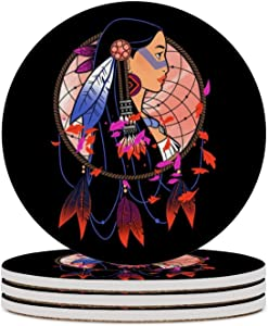Round Ceramic Stone Coaster Set of 4 Pocahontas Colours of The Wind Round Coaster Drink Absorption Coaster with Cork Base (3.9 inches)