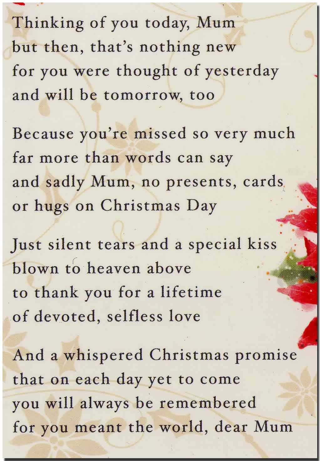 grave card in memory of a special mum with love at christmas