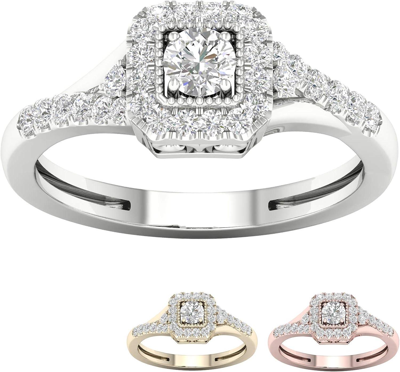10k Gold 1/3 Ct TDW IGI Certified Halo Round Diamond Engagement Ring For Women (I-J | I2)