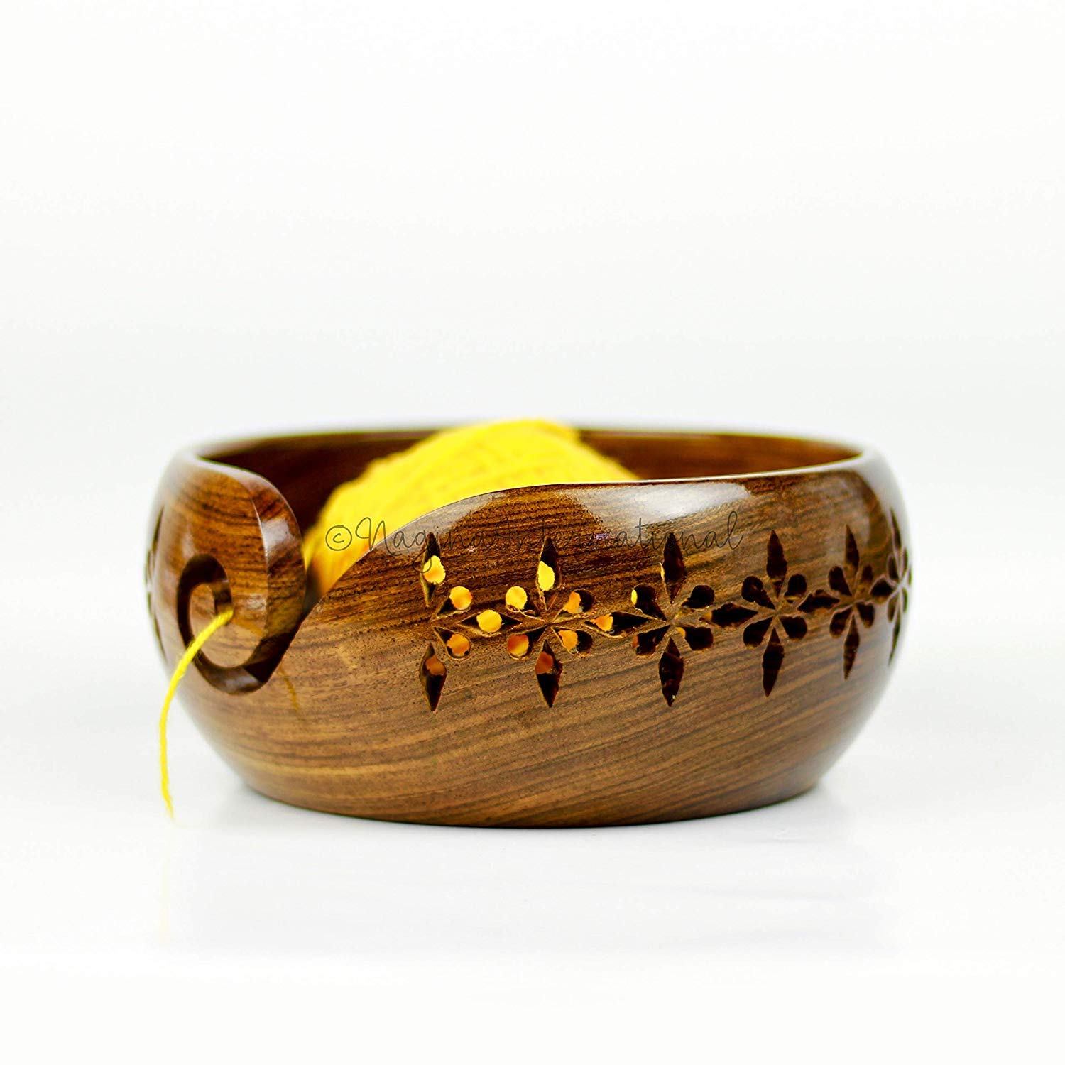 Rosewood Crafted Wooden Yarn Storage Bowl with Carved Holes & Drills | Knitting Crochet Accessories | Nagina International (Medium)