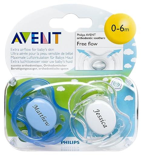 Personalised Gifts – sin BPA de Philips Avent chupetes (0 – 6 meses, 2 unidades), color azul y blanco – Grabado gratuito con nombre