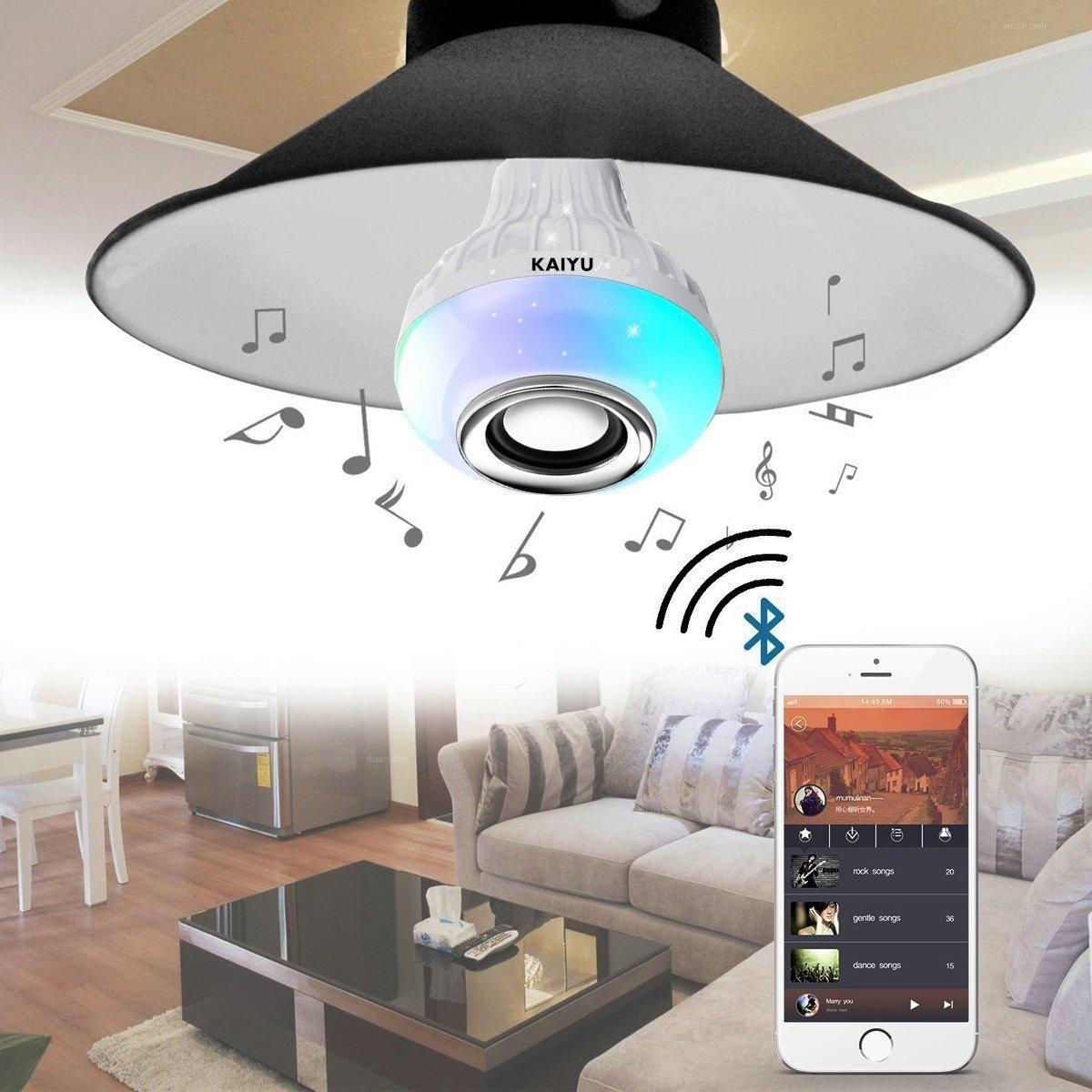 KAIYU LED Bluetooth Light Bulb Speaker - 6W E27 RGB Changing Lamp Wireless Stereo Audio with 24 Keys Remote Control