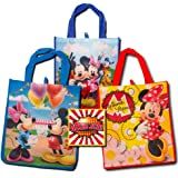 Disney Mickey Mouse Tote Bags Value Pack -- 3 Reusable Tote Party Bags (Featuring Mickey and Minnie Mouse), Bonus Sticker