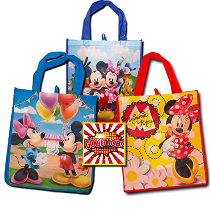 amazon com disney mickey mouse tote bags value pack 3 reusable