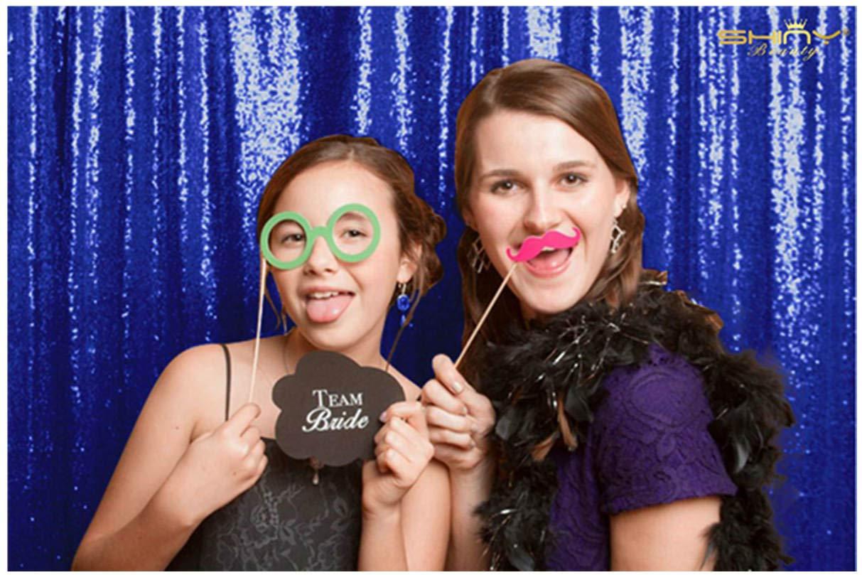 フォトブースウェディングprops-sequinファブリックBackdrops Sweets Forや結婚式パーティーカーテンdecorations-2ftx7ft 4FTx7FT ブルー Royal Blue Shimmer Backdrop 4x7   B07G6ZP5D9