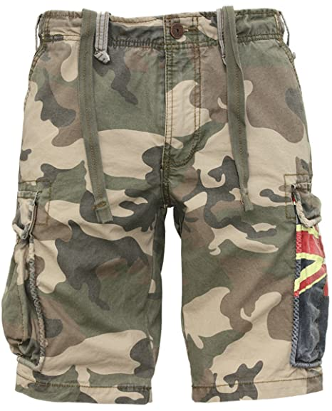 4c44b27ce9 JET LAG Cargo Shorts camouflage green army YC 22 Australia: Amazon.co.uk:  Clothing