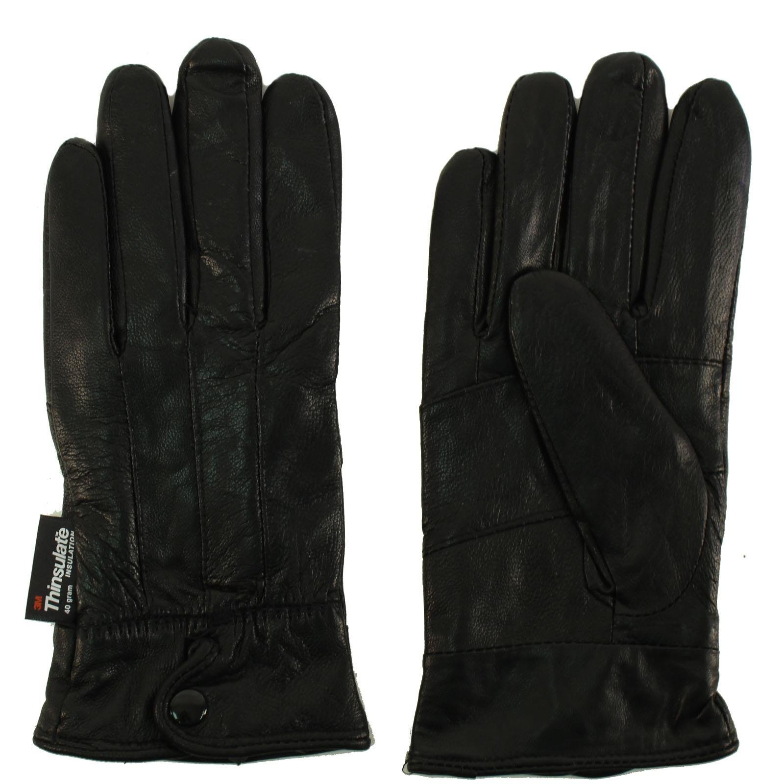 Ladies Winter 3M Thinsulate Soft Genuine Leather Wrist Snap Gloves Black Small