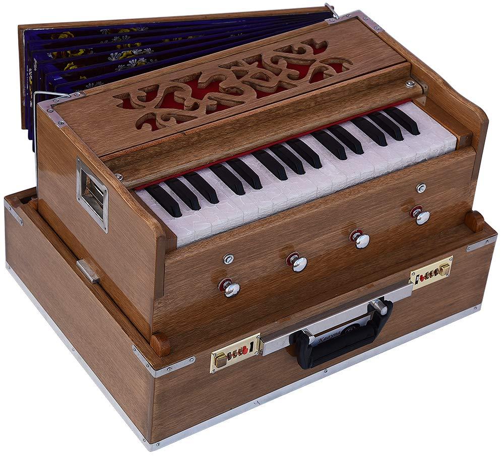 OM Mini Traveler Harmonium- 2¾ Octave By Kaayna Musicals-Portable, Baja, 4 Stops (2 Drone), Two Set Reed- Bass/Male, Teak Color, Gig Bag, Tuning: 440Hz, Best for Yoga, Bhajan, Kirtan, Mantra, etc.
