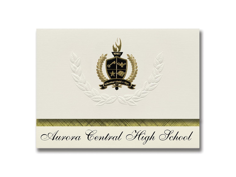 Signature Ankündigungen Aurora Central High School (Aurora, CO) Graduation Ankündigungen, Presidential Stil, Elite Paket 25 Stück mit Gold & Schwarz Metallic Folie Dichtung