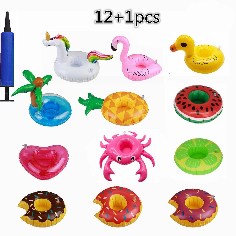 OCMCMO 12pcs Prácticos de costa inflables de la fruta posavasos de flotador unicornio inflador flamenco colchonetas y juguetes hinchables de niños adultos ...