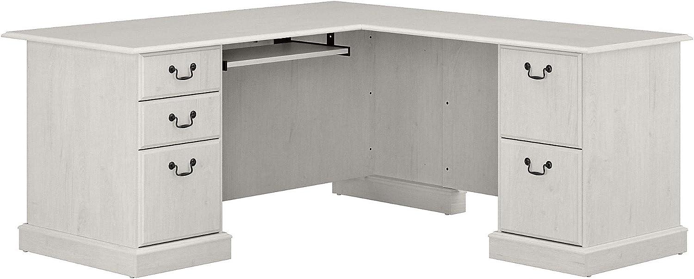 Bush Furniture Saratoga L Shaped Computer Desk with Drawers, Linen White Oak
