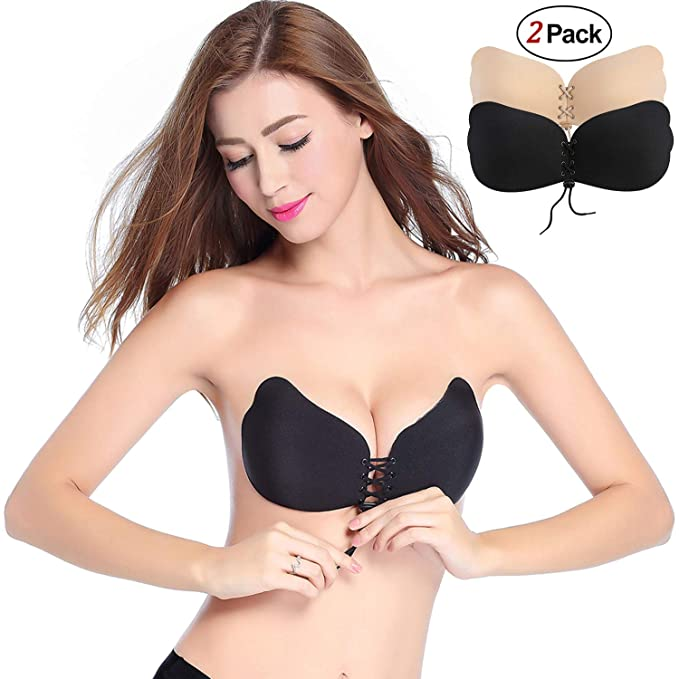 3f4dac32ca Defang Strapless Bra Sticky Backless Bra Self Adhesive Invisible Bras  Reusable Push up Bra with Drawstring