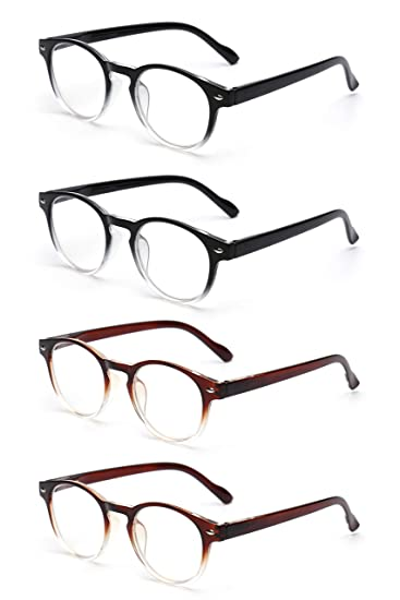 cdc38e2746e Image Unavailable. Image not available for. Color  JM 4 Pack Spring Hinge  Reading Glasses Vintage Round Glasses for Reader Men Women ...