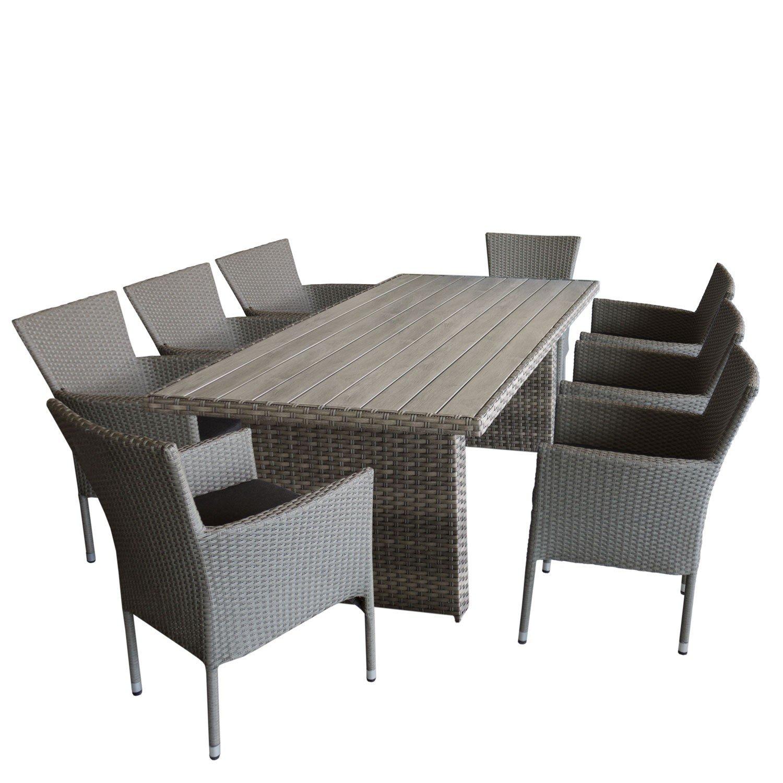 9tlg. Gartengarnitur, Premium Gartentisch, Polywood-Tischplatte Grau, 210x95cm, Aluminiumrahmen mit Rattanbespannung + 8x Rattansessel, stapelbar, Polyrattanbespannung, grau-meliert, inklusive Sitzkissen schwarz