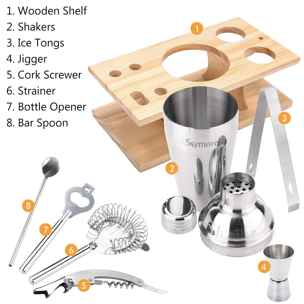 Skymore 9pcs Stainless Steel Bar Tool Set,Barware Cocktail Sets,Cocktail Gift Set Includes-Shakers+Ice Tongs+Cocktail Strainer+Jigger+Mixing Spoon+Beer/&Wine Opener+Rack From Wood