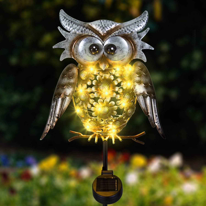 Solar Owl Decor Outdoor Garden Lights,Metal Owl Garden Decorations outside waterproof LED Decorative Solar Lights for Walkway,Pathway,Yard,Lawn