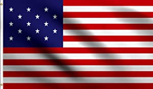 DMSE 15 Star Flag 3X5 Ft Foot Star Spangled Banner American USA America Red White and Blue Historical 100% Polyester 100D Flag (3' X 5' Ft Foot)
