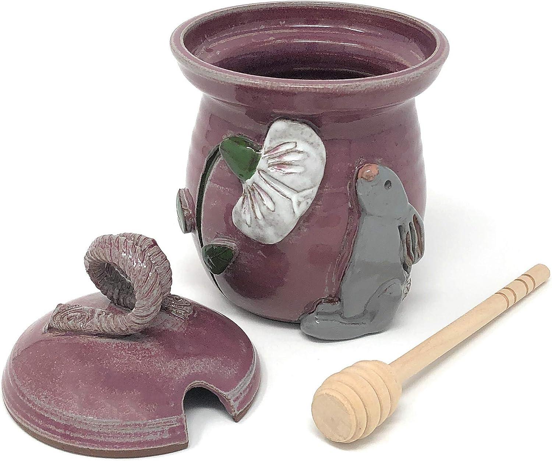 MudWorks Pottery Bunny with Poppy Honeypot