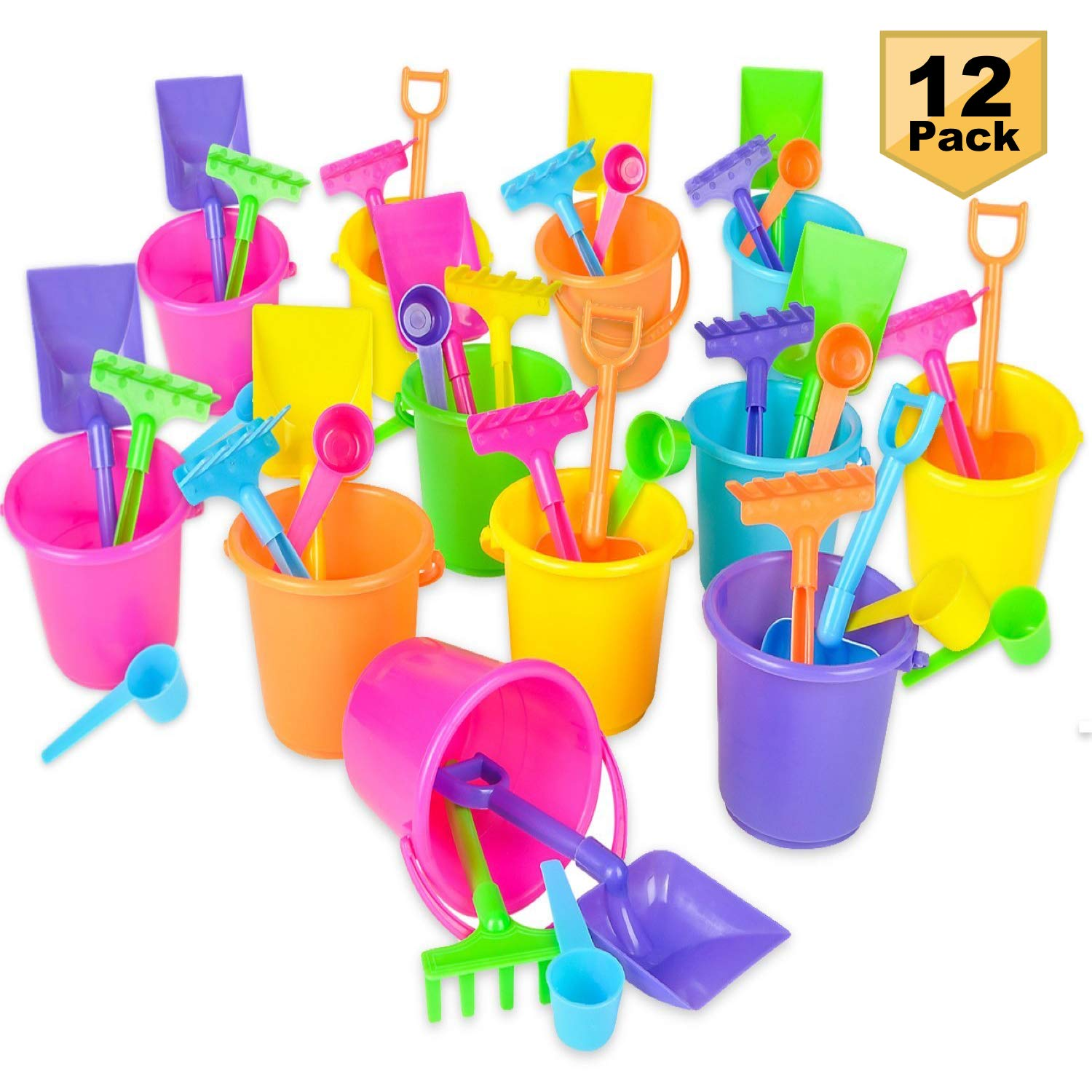 Bedwina Beach Bucket Shovel Set - (Pack of 12) Party Favor Sand Box Play Set Beach Sand Pail Includes 3-1/4'' Mini Bucket, Shovel, Rake, Scoop Beach Sand Toy Birthday Mermaid Theme
