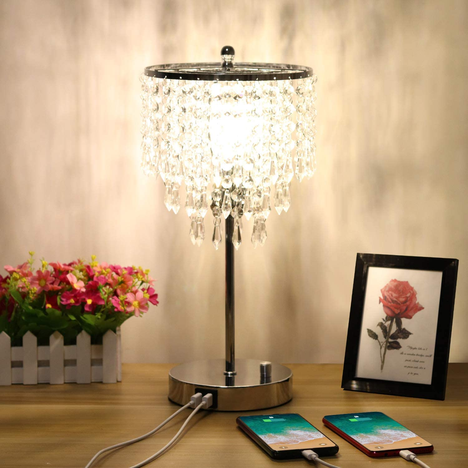 Zermurd Crystal Table Lamp, Stepless Dimmable Crystal Bedside Lamp with Dual USB Ports Decorative Elegant Lamp Beautiful Nightstand Lamp for Living Room Bedroom Dressing Room, B11 6W LED Bulb Included