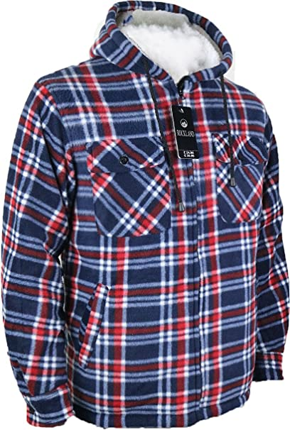 e075fae0cd Mens Padded Shirts Lumberjack Hooded Flannel Check Jacket Thick Quilted  Work Wear Warm Thermal Fleece Fur Lined Top Casual Coat Size M-XXL  Amazon.co.uk   ...