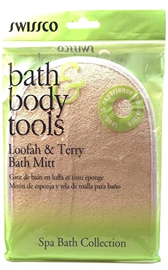 Amazon.com : Swissco Bath and Body Tools Loofah and Terry Bath Mitt Cleans the Skin While Stimulating Blood Circulation Gently Exfoliates (1 Each) : Bath ...