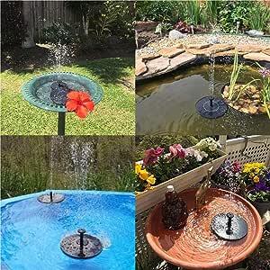 Gfone 175 x 175 x 45 mm Fuente Solar Flotante Agua jardín Fuente decoración al Aire Libre Accesorios para Fuentes: Amazon.es: Jardín