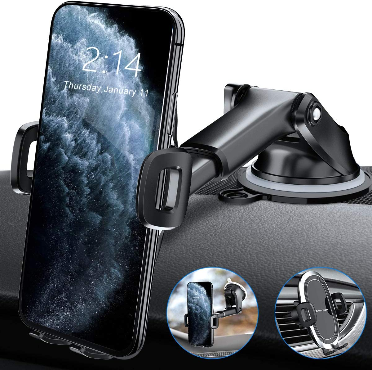 Hands-Free Cell Phone Holder for Dashboard Amwanan Car Phone Mount Samsung Google and Other Smartphones Windshield and Air Vent with Suction Pad Compatible with iPhone LG