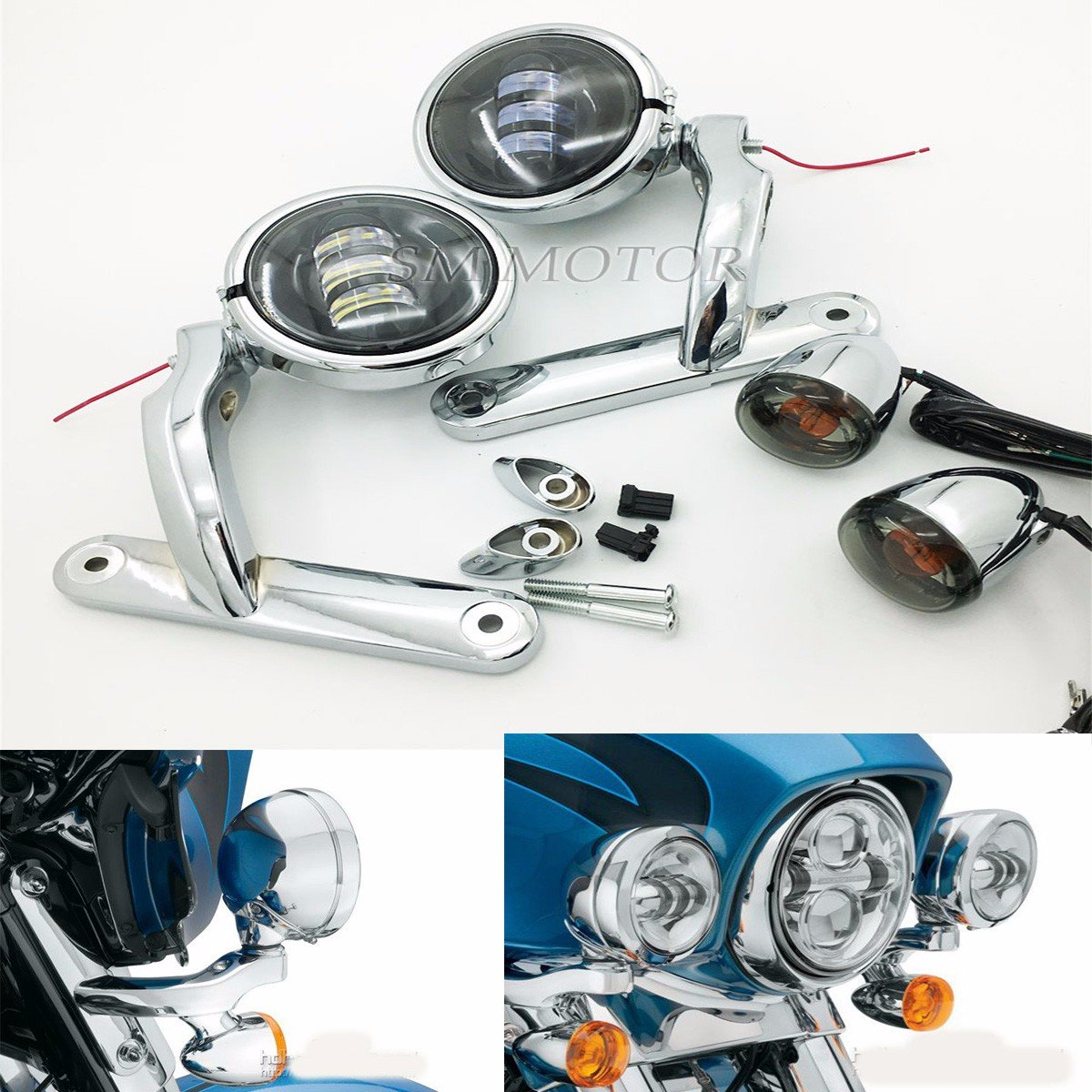 Auxiliary Lighting Brackets with fog and turn signal for Harley Street Glide Chrome B077D8S3JQ