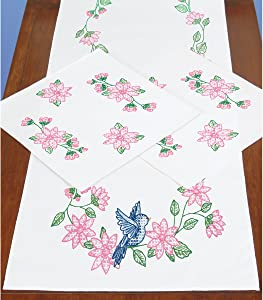 Jack Dempsey Stamped Dresser Scarf and Doilies Perle Edge-Bird