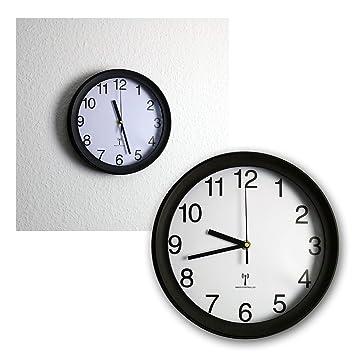 ChiliTec - Reloj de Pared controlado por Radio para Cocina, Oficina o salón (diámetro de 26 cm, Esfera Blanca), Color Negro: Amazon.es: Hogar