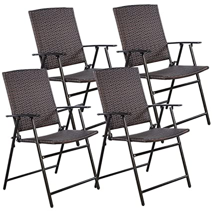amazon com tangkula 4 pcs folding patio chair set outdoor pool rh amazon com folding patio table with umbrella hole folding patio chair set