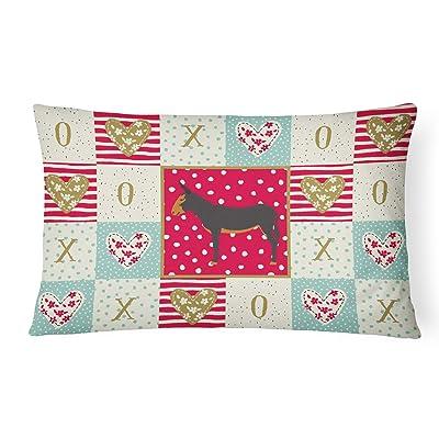 Caroline's Treasures CK5282PW1216 Catalan Donkey Love Canvas Fabric Decorative Pillow, 12H x16W, Multicolor : Garden & Outdoor