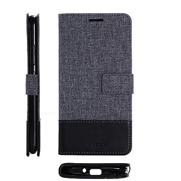 pinlu® Funda para ASUS ZenFone Go ZB500KL (5.0 Pulgada) Case de Piel PU 2 Colores Mezclados Flip Wallet Carcasa con Ranura para Tarjetas Función Lino ...