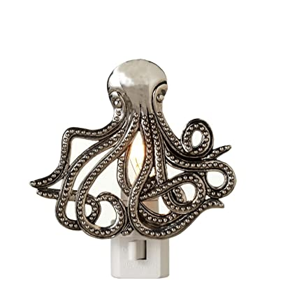 nautical themed night light lamp shades diva at home set of white and silver colored nautical themed octopus night lights 45quot amazoncom