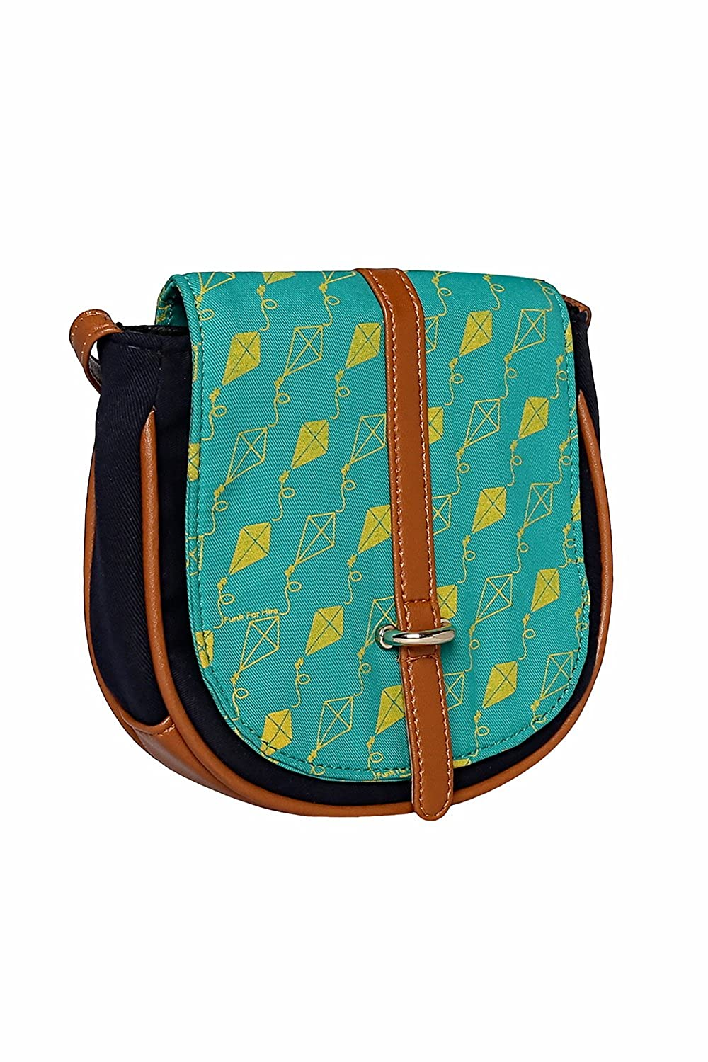 dad6644645c8 Funk For Hire Women Cotton Canvas Kite printed Flap Mini Sling Bag  (Turquoise   Navy Blue)  Amazon.in  Clothing   Accessories