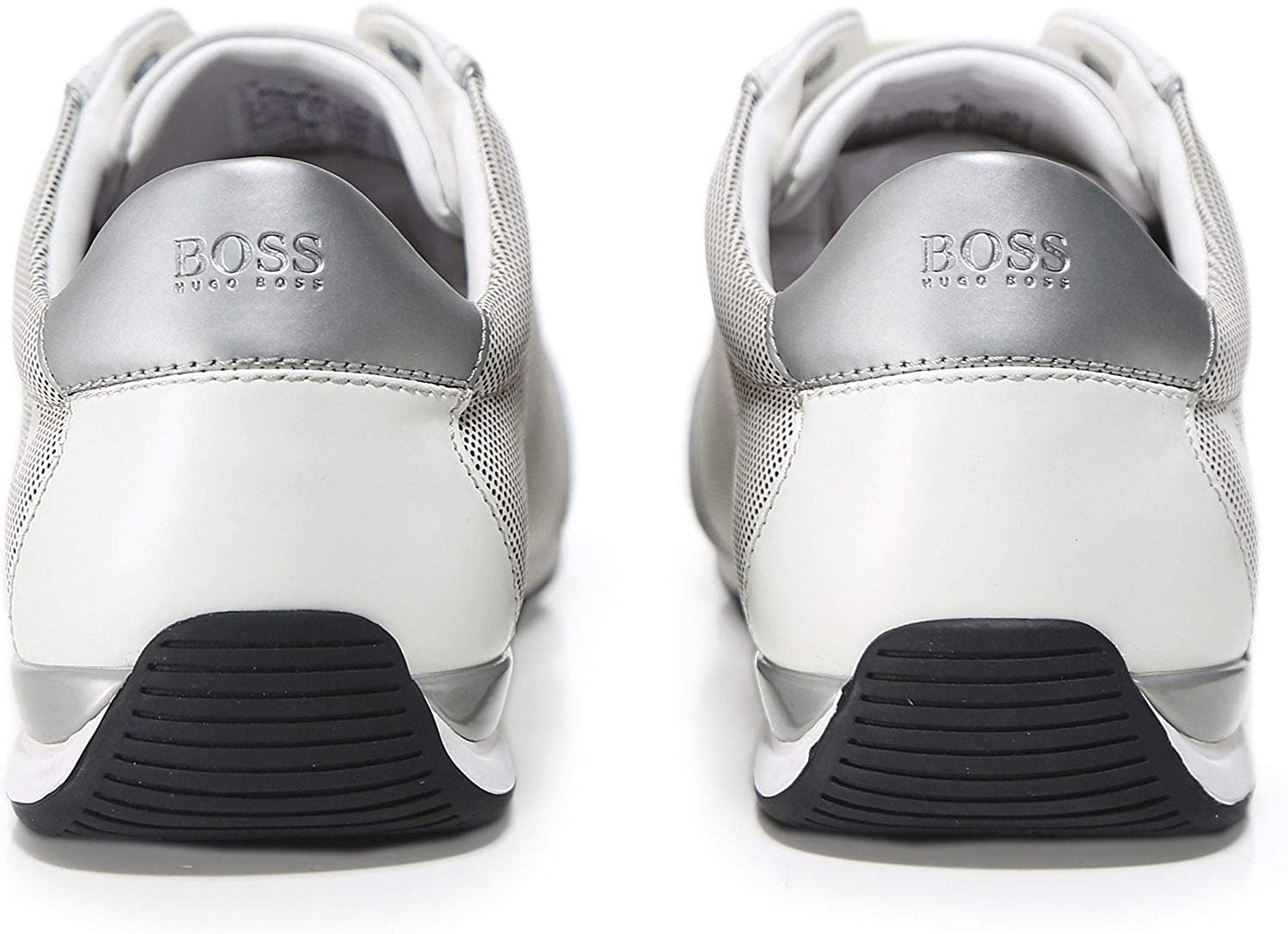 BOSS Mens Leather Saturn/_Lowp/_logo Trainers White UK 10