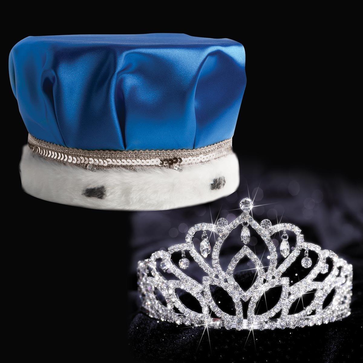 Blue Satin Crown Royalty Set, Blue Satin Crown with Silver Band, White Fur and 2 7/8 inch High Mirabella Tiara