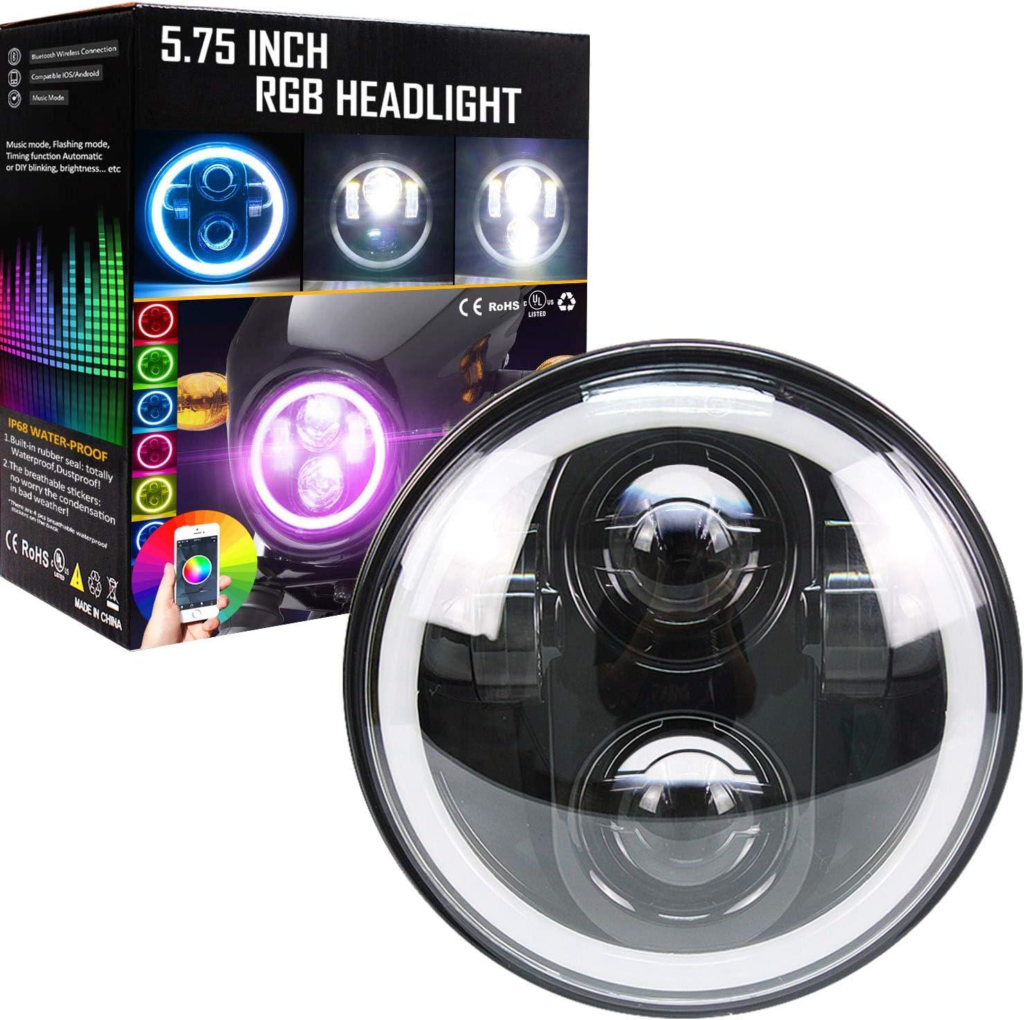 "5-3//4/"" RF RGB SMD Color Change Halo Angel Eye Shift Headlamp LED Headlights Pair"