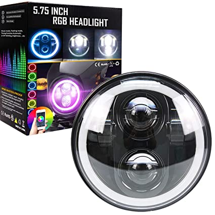 Amazon.com: Belt&Road 5 3/4 Inch RGB Halo LED Headlight for Harley on harley wide glide seats, harley wide glide cover, harley wide glide speedometer, harley wide glide exhaust, harley wide glide frame, electra glide wiring diagram, harley wide glide tires, street glide wiring diagram, harley wide glide battery, harley wide glide accessories,